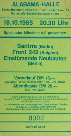 18-Oct-85  GE München,Alabamahalle  [with Santrra and Front 242]