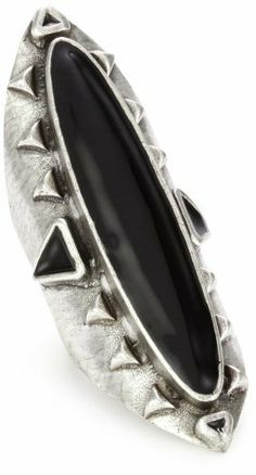 Low Luv by Erin Wasson Antiqued Sterling Silver-Plated Long Wood Ring Low Luv by Erin Wasson,