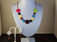 Single Strand Multi-Color Beaded Summer, Beach, Party, Sundress, Bridesmaid Necklace and Earring Set