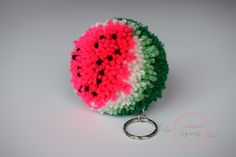 Watermelon Pom Pom. Need I say more! Super cute, fun and absolutely necessary for any Watermelon lover! Attach to your bag, car or as send as a gift! #watermelon #pompom #watermelonpompom #handmadebyceri #handmadeuk #paintboxyarns