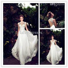 Wholesale Wedding Dresses - Buy 2014 Hot Selling High Neck A Line Floor Length Vintage Wedding Dresses with Nurit Hen New Design Lace Cap Sl...