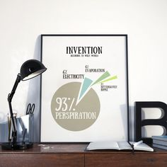 Willy Wonka quote about invention Dorm wall art by Emblematical