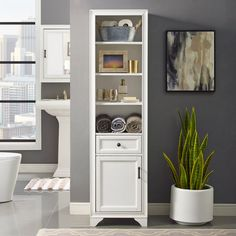 The modern Crosley Furniture Tara Linen Valet provides much-needed organization to any narrow bathroom, hallway, kitchen, and more. Modeled with a cottage-style motif, this valet features generous shelf space and room to store essentials. White Storage Cabinets, Cabinet Shelving, Tall Cabinet Storage, Linen Cabinets, Bathroom Furniture, Home Furniture, Space Saving Furniture, Storage Design, Adjustable Shelving