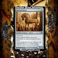 ManaTapped.com is giving away Magic the Gathering cards all the time! Stop by to win Akroan Horse or one of our other multiple Magic the Gathering giveaways!  Akroan Horse #MTG