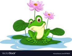 Funny Green frog cartoon sitting on a leaf. Illustration of funny Green frog car… - World of Animals Black Frog, Green Frog, Funny Frogs, Cute Frogs, Frog Coloring Pages, Frog Sitting, Frog Illustration, Frog Drawing, Frog Tattoos