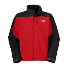 North face jacket black red