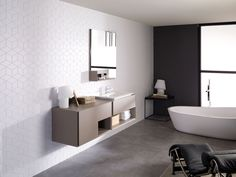Geometric white, love it. Bathroom furniture | PORCELANOSA