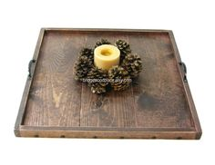 Ottoman Tray Large Wooden Coffee Table Tray by BridgewoodPlace