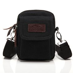 BAOSHA YB02 Multi Purpose Vintage Small Canvas Messenger Cross Body Bag Pack Organizer Shoulder Bag can be used as Security Money Waist Bag Pouch Black ** Click image to review more details.