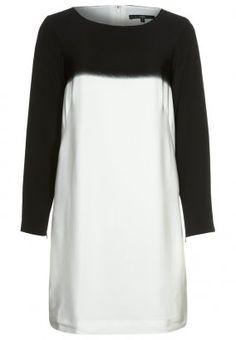 Tibi - colour-blocked silk dress - black/white