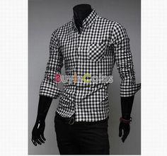 Men's Luxury Stylish Casual Dress Plaid Slim Fit Shirts Tee Tops 4Size Black -- BuyinCoins.com Men Fashion Show, Mens Fashion, Casual Shirts, Tee Shirts, Plaid Dress, Wholesale Fashion, Asian Fashion, Stylish, Men's Clothing