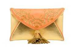 HCB 84 B YUKI - ORANGE AND GOLD ENVELOPE BEADED FLOWER CLUTCH WITH TASSEL