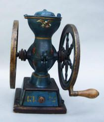 The Koffee Krusher #12 (2) Size Double Wheel Coffee Mill by Simmons Hardware / Keen Kutter Brand in BLUE  This is a very rare coffee mill.