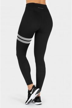 A new Stronger-favorite! High-performance black tights with our signature lines at left leg. Laser-cut perforation at calf's gives a great look and added ventilation. The hight waist makes the leggings stay in place and it is also very much in-trend. Workout Gear, Workout Style, Workouts, Sweatshirt, Hoodie, Black Tights, Women Life, Figure Skating, Fitness Fashion