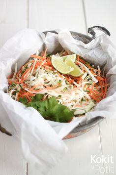 Kaakkoisaasialainen kaalisalaatti - Kokit ja Potit Yams, Coleslaw, Deli, Tofu, Side Dishes, Mango, Salad, Cooking, Cabbage Salad