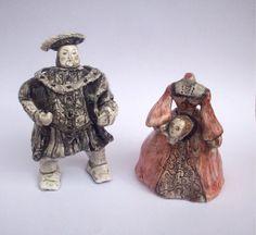 Henry VIII and the Ghost of Anne Boleyn ceramic miniature sculpture set