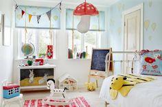 Kid's room. Love that mushroom lamp.