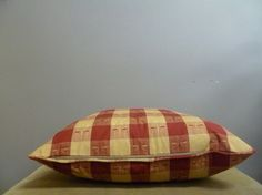 20x20 red and beige plaid dragonfly pillow cover by nakedwindow, $10.00