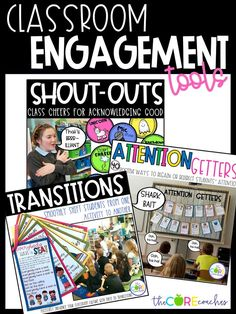 SHOUT-OUTS are a way to acknowledge your students' positive behavior and academic achievements in the classroom. Classroom TRANSITIONS are routines that are used regularly as a way to smoothly shift students from one activity to another in an effort to save valuable instructional time. ATTENTION GETTERS create a structured and energetic way to engage students and influence your classroom culture.  These strategies are easy to implement and they are sure to influence your classroom culture in...