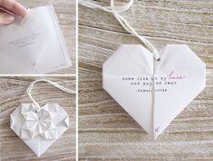 DIY Origami Heart Wedding Invitations