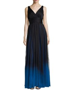 T99YE Halston Heritage Sleeveless V-Neck Ombre Gown