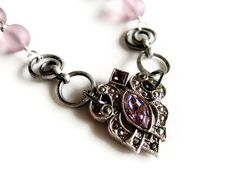 Lavender Glass Marcasite Assemblage by ModernVintageStudio on Etsy, $23.00