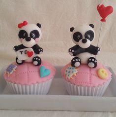 Cupcakes de Pareja de Ositos panda