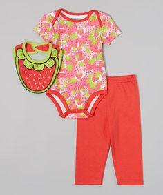 Peanut Buttons Red & Green Strawberry Bodysuit Set - Infant by Peanut Buttons #zulily #zulilyfinds