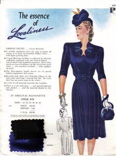 Vintage maisonette swatch, 1940s. Interesting neckline detail.