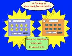 This is a Smart Notebook 11 file. There are 14 multiplication/division drill pages. These drills are set up as games where each student can time . Multiplication Games, Multiplication And Division, Math For Kids, Fun Math, Maths, Math Resources, Math Activities, 3 Times Tables, Third Grade Math