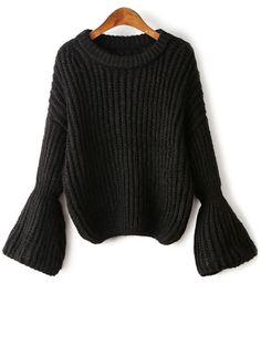 Bell Sleeve Chunky Sweater BLACK: Sweaters | ZAFUL