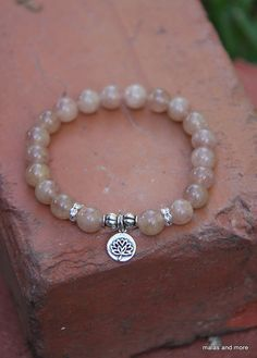 8mm Strawberry Quartz Mala Bracelet with silver lotus charm - Mediation Inspired Yoga Beads