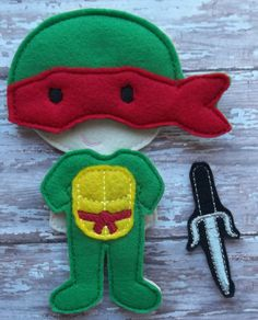 """Ralph Ninja Turtle inspired Felt Set from my """"Unpaper Felt Dolls Share"""" collection Listing for doll clothes outfit only Suit, Mask & Weapon by cabincraftycreations on Etsy"""
