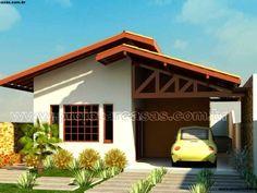 Projetar Casas | Planta de casa térrea com 2 quartos e 1 suíte, cozinha americana e garagem – Cód 20