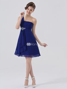 Royal Blue One-Shoulder Rhinestone Satin Chiffon Homecoming Dress. See More One Shoulder at http://www.ourgreatshop.com/One-Shoulder-C975.aspx