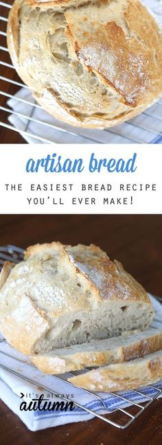 This artisan bread recipe is so easy to make and turns out amazing! It only takes 4 ingredients and 5 minutes of hands on time for crusty, delicious bread! How to make bread. Crazy easy homemade artisan bread {only 4 ingredients!} - It's Always Autumn Artisan Bread Recipes, Bread Machine Recipes, Easy Bread Recipes, Baking Recipes, Simple Bread Recipe, Healthy Recipes, Bariatric Recipes, Bread Recipe For Beginners, Snacks