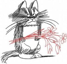 Unhappy cat with flowers free embroidery design. Machine embroidery design. www.embroideres.com