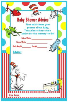 Dr. Seuss Baby Shower Games | Dr Seuss Baby Shower Printable Advice Cards