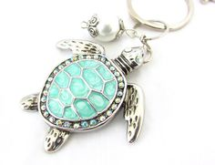 Sea Turtle Keychain Turtle Keyring Beach by EarthlieTreasures