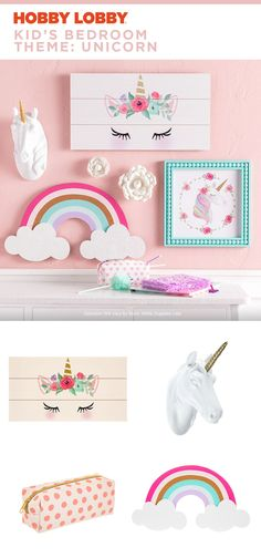 Calling all unicorn fanatics: Your kids will ❤️ this bedroom theme. Find it at your local Hobby Lobby®. Calling all unicorn fanatics: Your kids will ❤️ this bedroom theme. Find it at your local Hobby Lobby®. Big Girl Bedrooms, Little Girl Rooms, Girls Bedroom, Unicorn Bedroom Decor, Bedroom Themes, Unicorn Decor, Bedroom Ideas, Unicorn Rooms, Girls Room Accessories