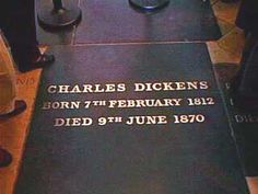 Buried in Westminster Abbey is Charles Dickens Victorian author whose works include several masterpieces including 'Oliver Twist', 'A Christmas Carol', 'A Tale of Two Cities' and 'The Pickwick Papers'. Cemetery Headstones, Old Cemeteries, Cemetery Art, Graveyards, Peace In The Valley, The Pickwick Papers, Famous Tombstones, Concord, Between Two Worlds