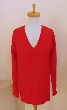 NWT Gap Red Tunic Sweater M Cosy V-Neck Pullover Wool Blend Relaxed Long Sleeve  #GAP #VNeck #casual