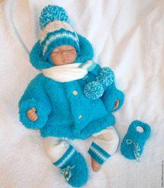 Купить Комплект Бирюзовый - разноцветный, в полоску, для новорожденного, для новорожденных, одежда для новорожденных, вязание спицами