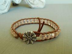 Leather wrap bracelet pink czech glass pinwheel by ShabbyChicGlam