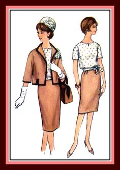 Vintage 1960's-Iconic JACKI-O Style-Classy Three Piece Suit -Sewing Pattern-Lined Box Jacket-Side Tie Blouse-Pencil Skirt- Size 18 Rare by FarfallaDesignStudio on Etsy