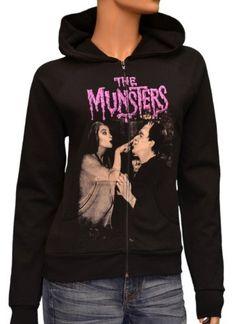 Herman and Lily Munster Women's Hoodie Sweatshirt By Rock Rebel Black-Medium Rock Rebel.