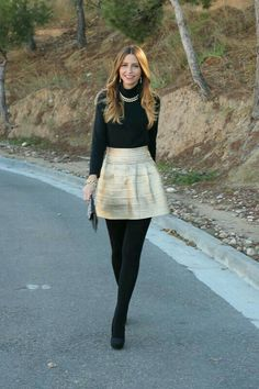 Love the style. I like the black tights and boots. perfect for New Years Eve festivities