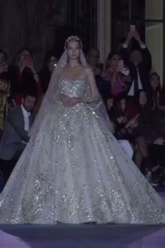 Zuhair Murad Stunning Embellished A-Lane Princess Wedding Dress / Bridal Ball Gown with Strapless Illusion, Long Sleeves and Long Cathedral Train. Collection Spring Summer 2019 by Zuhair Murad Western Wedding Dresses, Princess Wedding Dresses, Dream Wedding Dresses, Wedding Attire, Bridal Dresses, White Princess Dress, Queen Wedding Dress, Wedding Dress Accessories, Beautiful Dresses