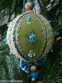 Christmas Vintage Ornament Beaded Jewel Art Sequin Handmade Chartreuse & Blue