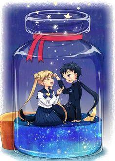 """Sailor Moon StarS"" fan art - Usagi Tsukino and Seiya Kou. Sailor Moon Stars, Sailor Mars, Arte Sailor Moon, Sailor Moon Fan Art, Sailor Moon Character, Sailor Uranus, Sailor Moon Crystal, Stars And Moon, Anime Chibi"